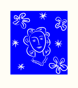 Blauw witte afbeelding van een vrouwenhoofd met bloemen en sterren.