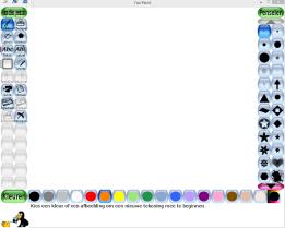 Het startscherm van Tux Paint. Links de gereedschappen, rechts de opties en onderaan kleuren kiezen.