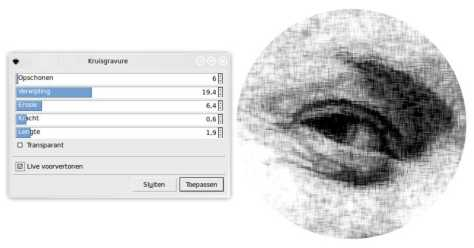 Het Inkscape filter Kruisgravure