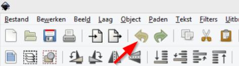 De iconen van Inkscape staan nu op hun plek. Zo hoort het er uit te zien.