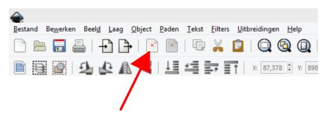 In de interface van Inkscape missen icoontjes. Zij zien er uit als rode kruisjes.